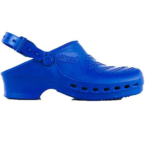 Zuecos Sanitarios de Trabajo Reposa • Zuecos Mujer y Hombre con Suela de Goma Antideslizante • Zapatos para Enfermería Y Hostelería • Talla 43 • Color Azul