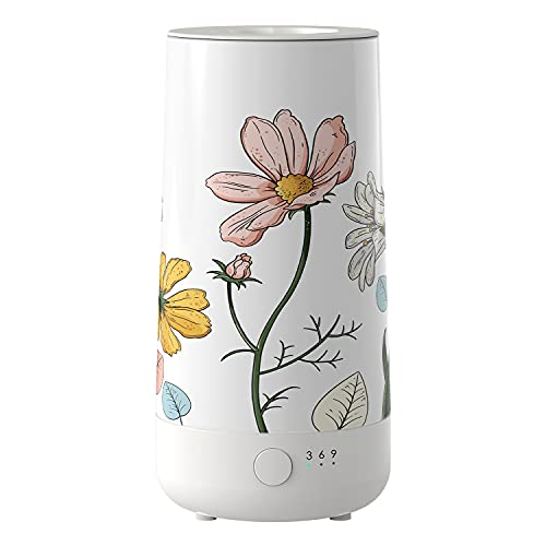 Ceramic Wax Melt Warmer, Electric Wax Melter and Scent Diffuser with Silicone Tray and Automatic Timer, 100% Safe, No Flame, Wick or Soot, Decorative Modern Design (Never-Fading Flower)