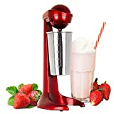LIVIVO 2020 Model Red Retro Style 100W Milkshake Maker Milk Frother Machine with 500ml Stainless Steel Mixing Cup for Frappe, Frothy Milk, Juices and Smoothies, Mixer Batter