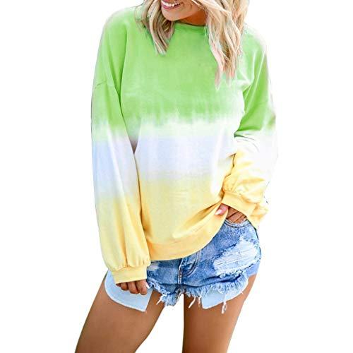 NPRADLA Damen long shirt long Sleeved Blouse Hoodie sweatshirt with Hood Colour Gradient Tops z4-grün m