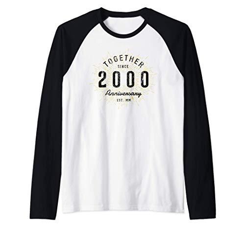 21 Aniversario 21 Años Juntos Desde 2000 Camiseta Manga Raglan