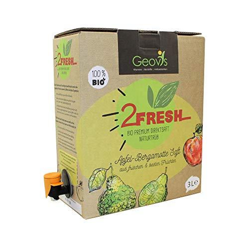 Geovis - 2FRESH Bio Premium Apfel Bergamotte Direktsaft 3L - Schonende Kaltpressung ohne Zugabe von Zucker (laut Lebensmittelrecht) - Bag in Box - VEGAN - Gesunde Küche