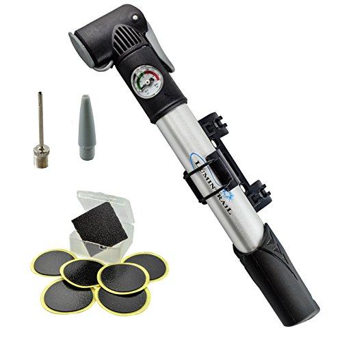 Lumintrail Mini Bike Pump with Gauge and Glueless Puncture Repair Kit w/Presta & Schrader Dual Head, Frame Mount
