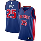 Camiseta de baloncesto Derrick rosa de manga corta Detroit Traning Pistons Bordado #25 2020/21 Swingman Jersey azul - Icon Edition-XL