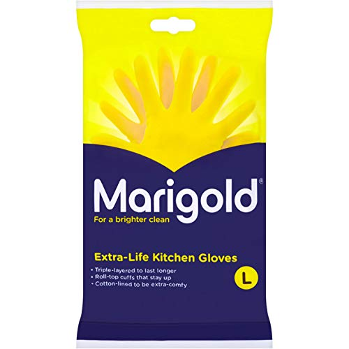 Marigold FH037120 Kitchen Gloves Extra Life Large Washing Up Cleaning Dish Wash Silicone Rubber 1 Pair Cotton Lined