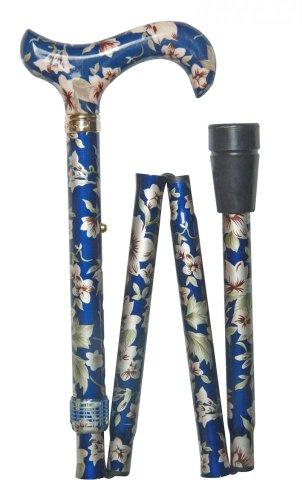 Bastón plegable y ajustable a la moda, color azul oscuro con flores