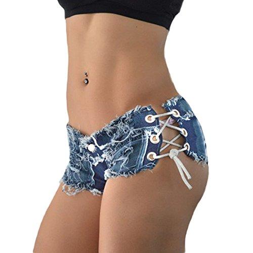 DELEY Frauen Mädchen Quaste Verband Party Nacht Club Ausgefranste Seil String Jeans Shorts Hotpants Größe S