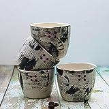 Ceramic Espresso Cups, Made Of Clay Black&White Lead Free Glaze, Artisan Black&White Decorated Ceramic Espresso Cups - Set of 4, Hand Painted Pottery Dishware, Unique Coffee Lover Gift