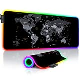 TITANWOLF - Alfombrilla de ratón Gaming RGB - Mouse Pad 800x300 mm - LED Multicolor 7 Colores - 4 Modos de Efectos - Mejora Precisión y Velocidad - Superficie Inferior de Goma – Motivo Mapamundi Gris