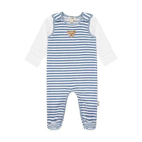 Steiff Baby-Unisex mit süßer Teddybärapplikation Set Strampler + T-Shirt Langarm GOTS, Stonewash, 62