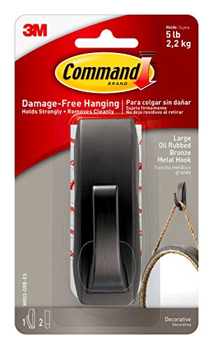 Command Large Modern Reflections Metal Hook, Oil Rubbed Bronze,