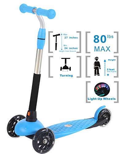Voyage Sports Toddler Kick Scooter for Kids Boys and Girls, Adjustable Height, 3 Wheel with LED Light-Up, Blue Kickboard