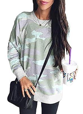Sidefeel Women Long Sleeve Crewneck Camo Print Sweatshirt Jumper Top Large Green