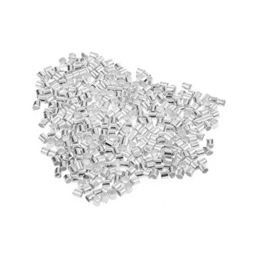 Schiaccini placcati argento/oro, perline forate spaziatrici da 1,5 / 2 mm per gioielli, 600 pezzi, Silver, 1,5 mm
