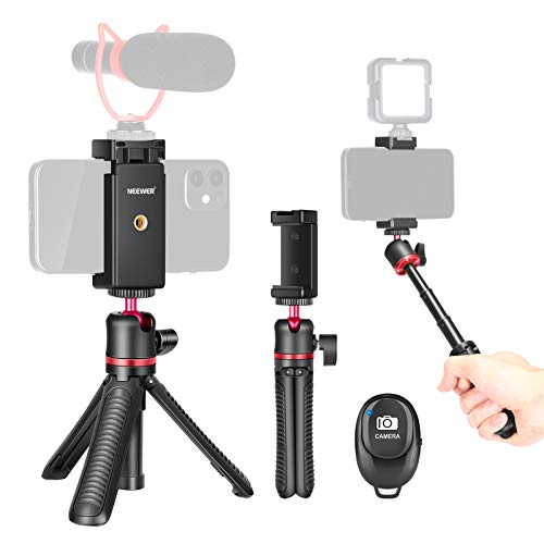 Neewer 2-in-1 Treppiede Bastoncino da Selfie per Smartphone, Estensibile con Impugnatura, Testa a Sfera 360°, Telecomando & Supporto Clip, per iPhone Android Fotocamere Mirrorless Webcam ActionCam