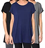 Free to Live 3 Pack Women's Loose Fitting Short Sleeve Kimono Flowy Long Tunic Tops (XL)