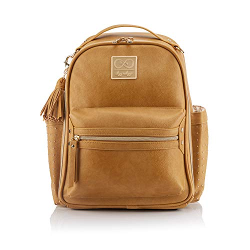 Chelsea + Cole for Itzy Ritzy Mini Diaper Bag Backpack - Studded Mini Diaper Bag Backpack with Changing Pad, 8 Pockets, Rubber Feet & Tassel; Caramel with Sweetheart Print Interior and Gold Hardware