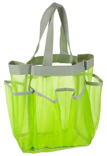 7 Pocket Shower Caddy Tote, Green - Keep your shower essentials within easy reach. Shower caddies are perfect for college dorms, gym, shower, swimming and travel. Mesh allows water to drain easily.