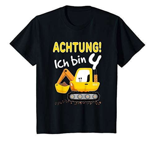 Kinder Bagger T-Shirt 4. Geburtstag Jungen 4 Jahre Shirt Baustelle T-Shirt
