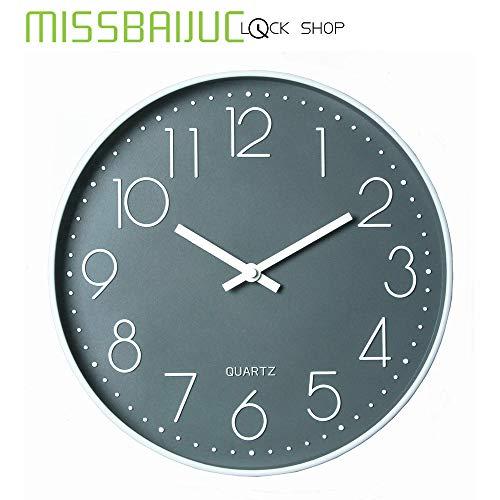 Reloj de Pared Grande, Estilo Retro y Vintage, Mudo, sin tictac, Cuarzo, decoración,El salón es Simple y Moderno, Gris silencioso con un segundero de 12 Pulgadas