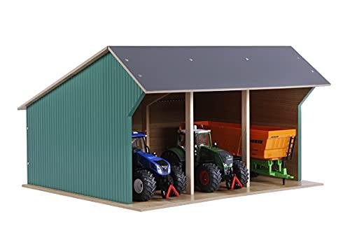 Kids Globe Fahrzeugschuppen 1:32 (für bis zu 3 Fahrzeuge/Traktoren/Anhänger, Dach aufklappbar, Holzschuppen für Bauernhof, Maße 45x38x27 cm) 610193, Holz