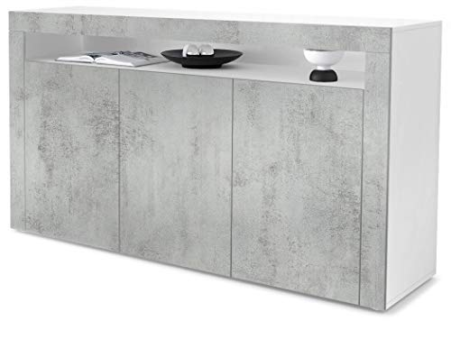 Vladon Sideboard Kommode Valencia, Korpus in Weiß matt/Front in Beton Oxid Optik mit Rahmen in Beton Oxid Optik