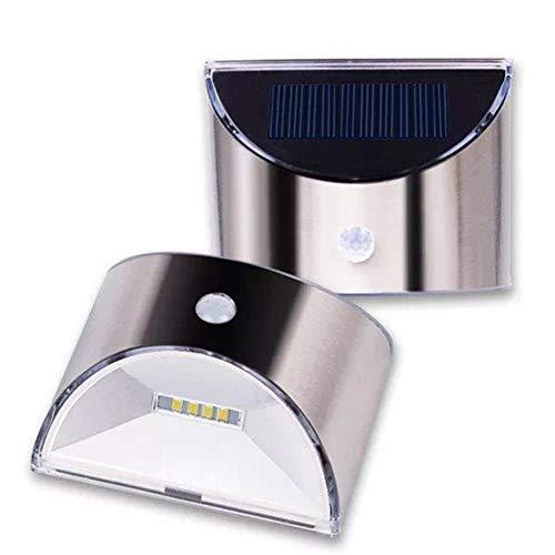 CKQ-KQ Buitenverlichting op zonne-energie 4 LED PIR Motion Sensor RVS wandlamp for Outdoor Garden Home waterdichte Lamp