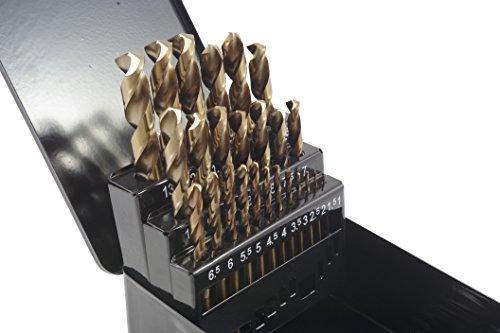 HSS-G cobalt twist drill bit set, 1 mm - 13 mm, HSS cobalt metal drill bit, 135 °, set of 25