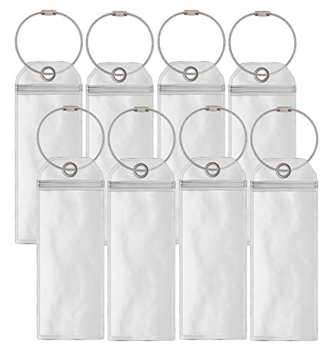Cruise Luggage Tag Holders Slim (8 Pack) Clear Waterproof PVC Tag Holder with Zip Seal & Steel Loops - Travel Vacation Accessories - Cruise Necessities - Celebrity Cruise - Royal Caribbean