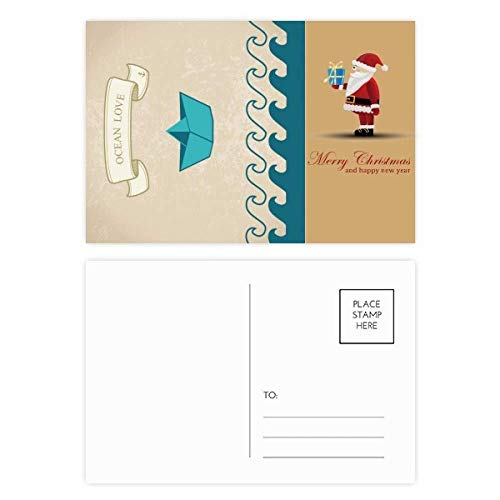Papier Faltboot Ocean Love Sea Sailing Santa Claus Postkarten-Set Dankeskarte Mailing 20 Stück