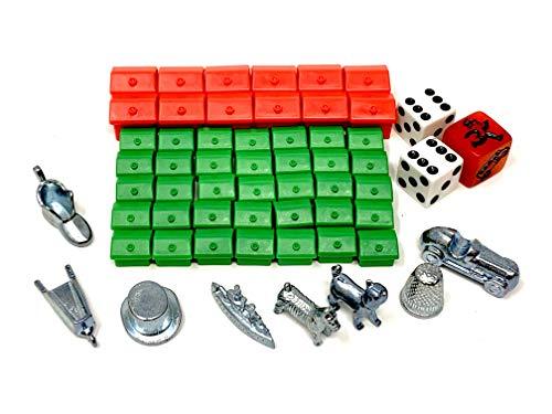 Monopoly Classic Zubehör Set mit 35x Häusern, 12x Hotels, 3X Würfel, 8X Metallfiguren