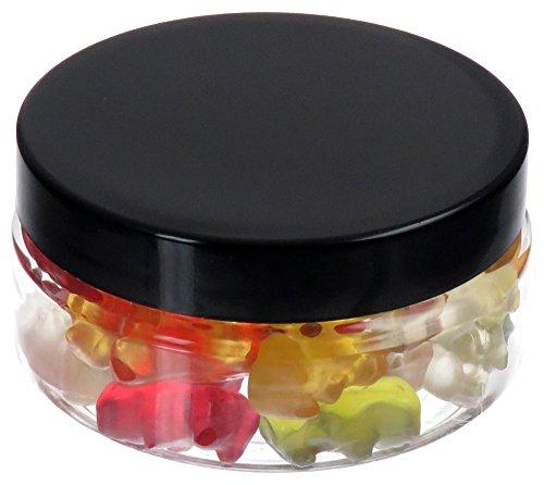 200 ml Contenitori PET, trasparente, con coperchio in plastica, nero, 10 pezzi