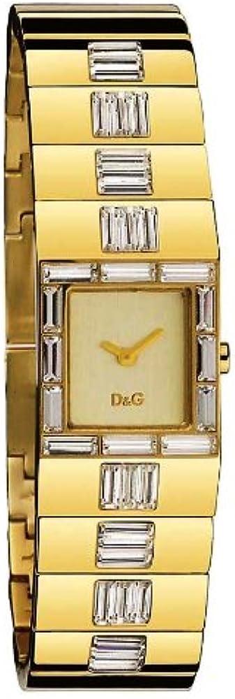 Dolce & gabbana, orologio per donna, in acciaio con trattamento ip oro con pietre taglio baguette DW0238