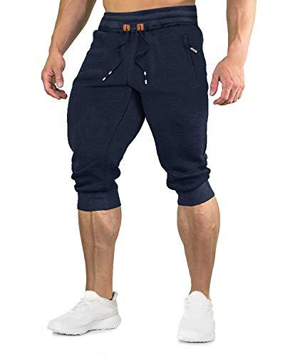 EKLENTSON Herren 3 4 Hose Jogginghose Laufhose Sport Sommer Gym Atmungsaktiv für Männer Jungen, Navy