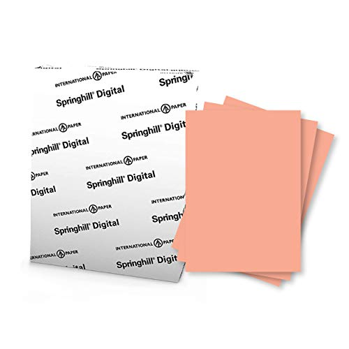 """Springhill 8.5"""" x 11"""" Salmon Colored Cardstock Paper, 90lb, 163gsm, 250 Sheets (1 Ream) – Premium Lightweight Cardstock, Printer Paper with Smooth Finish for Cards, Flyers, Scrapbooking & More – 085100R"""