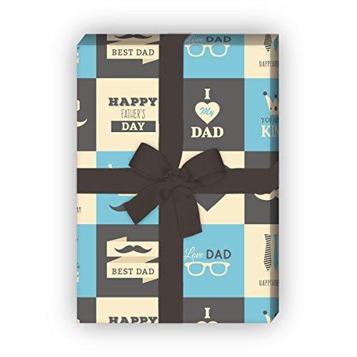 Kartenkaufrausch Retro Geschenkpapier Set mit Vatertags Glückwünschen für liebe Geschenkverpackung, DIY Projekte, Basteln, 4 Bögen, 32 x 48cm Dekorpapier, Musterpapier zum Einpacken