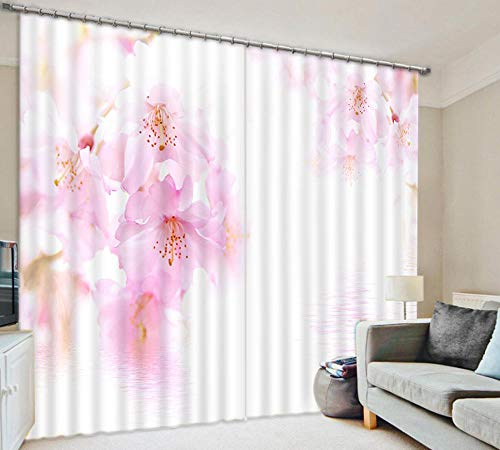 KER Blackout Vorhänge Für Schlafzimmer Windows-Eyelet Thermal Insulated Kinderzimmer - Pink Peach Blossom 3D-Fenster Gardinen 2 Panels Für Wohnzimmer Schlafzimmer Kinderzimmer Pink-W264*H160cm