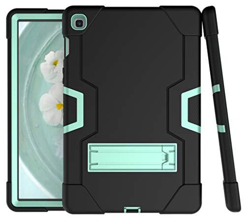A-BEAUTY Capa para Samsung Galaxy Tab S5e 10,5 polegadas 2019 (SM-T720/T725), com [protetor de tela] [caneta] [à prova de choque] [Suporte], preto verde menta