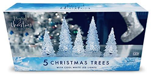 Aminori Christmas Light up Acrylic Christmas Tree Forest Scene 19cm (Cool White)