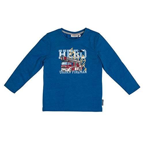 Salt & Pepper Jungen Fire Zone Hero-Print Langarmshirt, Blau (Blue Melange 454), 116 (Herstellergröße: 116/122)