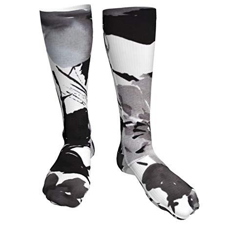 Jack16 Wasserfarbenes, modernes Vintage-Design, schwarz, weiß, florales Muster, Unisex, Kniestrümpfe