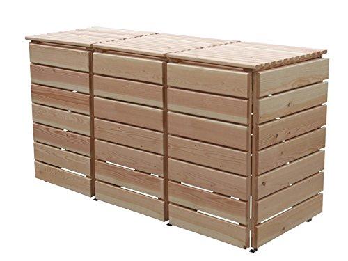 Mülleimerverkleidung Holz, Modell Bilmer, für drei 240 Liter Mülltonnen
