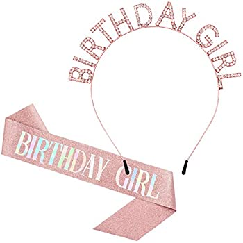 Birthday Crowns for Women Rose-Gold Birthday Girl Sash & Birthday Tiara for Women Set Princess Rhinestone Birthday Girl Headband Birthday Gifts for Women Sweet Happy Birthday Accessories