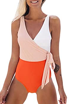 CUPSHE Women s Orange White Bowknot Bathing Suit Padded One Piece Swimsuit M