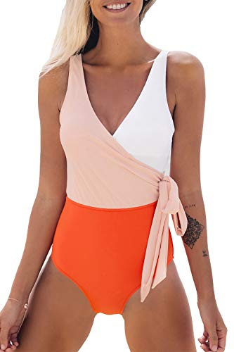 CUPSHE Women's Orange White Bowknot Bathing Suit Padded One Piece Swimsuit, XL