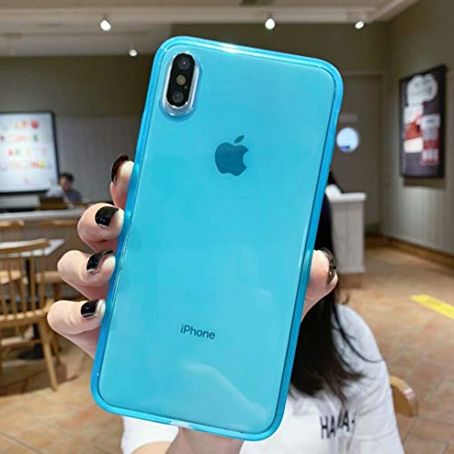 Clear iPhone Xs Max Case,Matte Shock-Absorption Bumper Edge Silicone TPU Soft Gel Phone Cover for Apple iPhone Xmax 6.5 (2018) - Clear Blue
