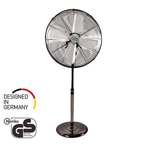 Ventilator Leise | Standventilator CoolBreeze 5000 | 50 cm Durchmesser, 60 Watt | Stand Fan Windmaschine Metall Chrom Lüfter | für Bett, Schlafzimmer, Büro, Wohnung, Balkon | von SUNTEC