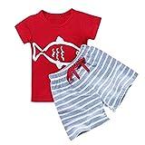 Moneycom T-Shirt für Kleinkinder, Baby, Jungen, kurzärmelig, gestreift, Cartoon-Oberteil, 2 Pants für Geburt, Baumwolle, Kostüm, Sommer, Geburtstag, schick, für Hochzeit, Outfit Gr. 2-3...