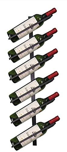 Soporte decorativo para vino, soporte de vino, montado en la pared, bar, restaurante, botella de vino, hierro Art 6 botellas, estante retro para almacenamiento de vino de pared para bar y hogar