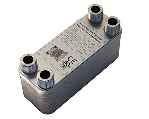 Edelstahl Plattenwärmetauscher B3-12-30 mit 4x3/4 Zoll Anschl. 65kW Heizung Solar (PWT)
